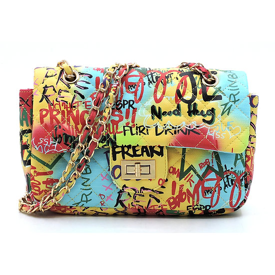 Yellow Graffiti Faux Leather Handbag