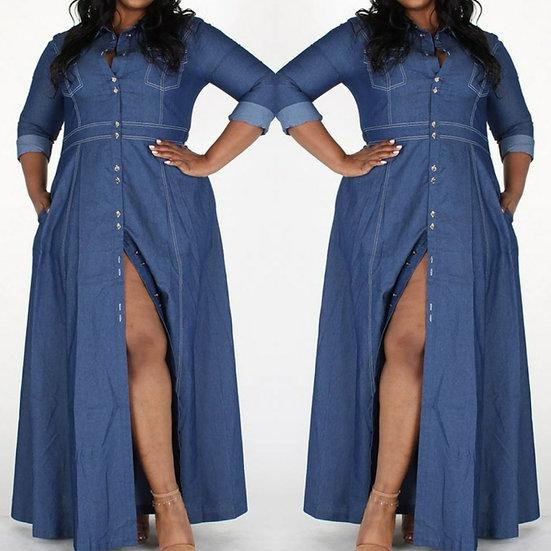 Lt  Weight Denim Maxi Dress