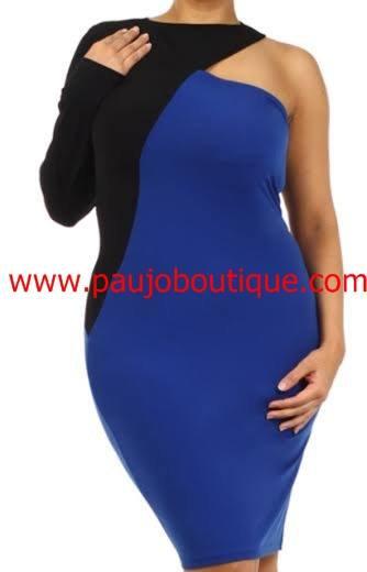 Blue n Black Color Bloc One Shoulder Dress