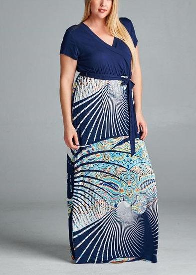 PLUS Navy Maxi Dress