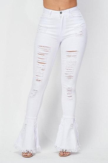 White Denim Disco Distressed Pants