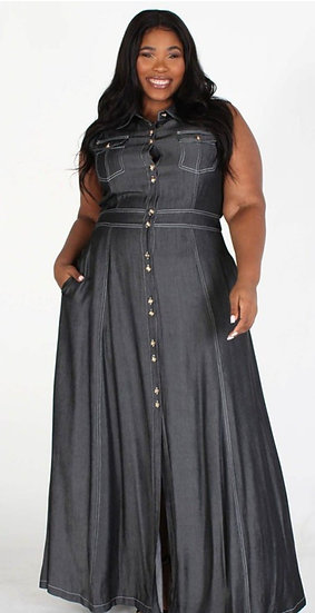 D001 Plus Black Denim Maxi Dress
