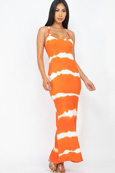 Orange Stipe Tie Dye Maxi
