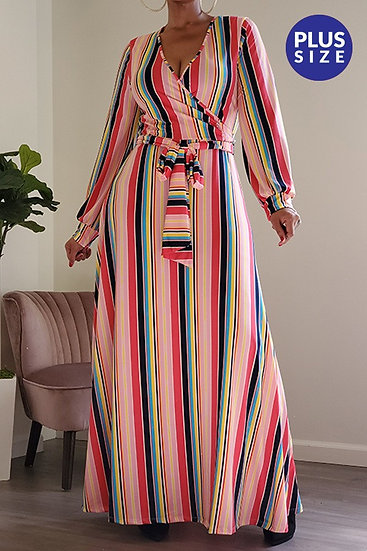 Plus Pink Stripe Maxi Dress