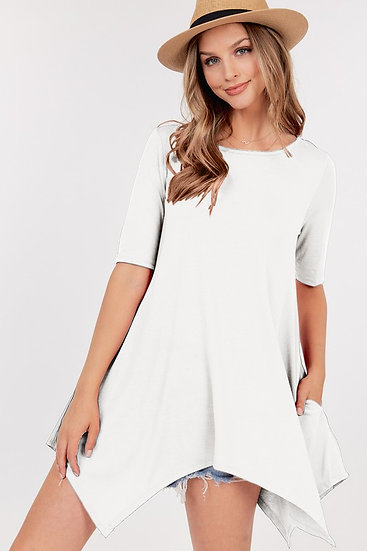 White Asymmetric Tunic Top with pockets