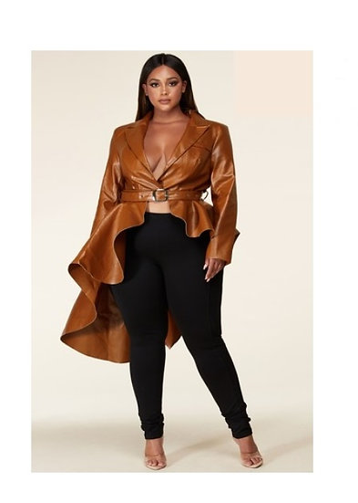 Fierce Faux Leather Jacket (PLUS)