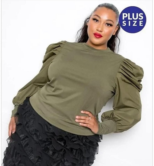 Plus Olive Bubble Sleeve Top