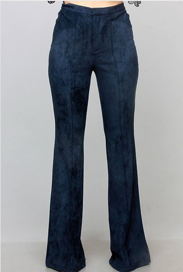 Navy Blue Suede Pants