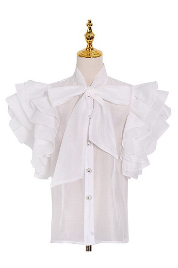 White Layered Ruffle Sleeve Blouse