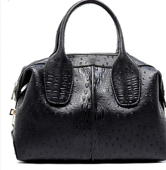 Black Ostrich Faux Leather Bag