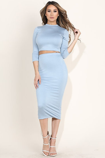 Blue Midi Skirt Set