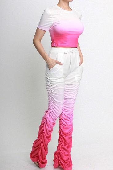 Pink Ruching Pants Set (PS001)