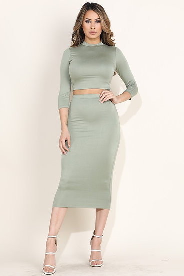 Green Midi Skirt Set