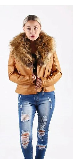 Taupe Faux Leather Jacket w Fur