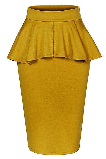 Mustard Peplum Skirt