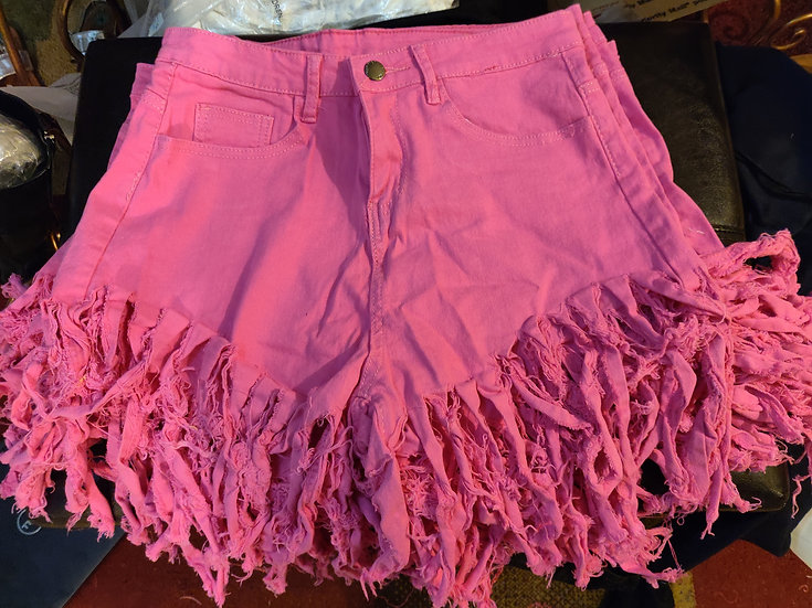 Denim Pink Fringe Shorts