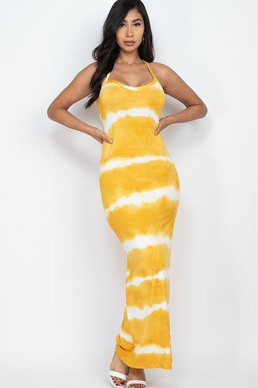 Plus Mustard Stripe Tie Dye Maxi Dress