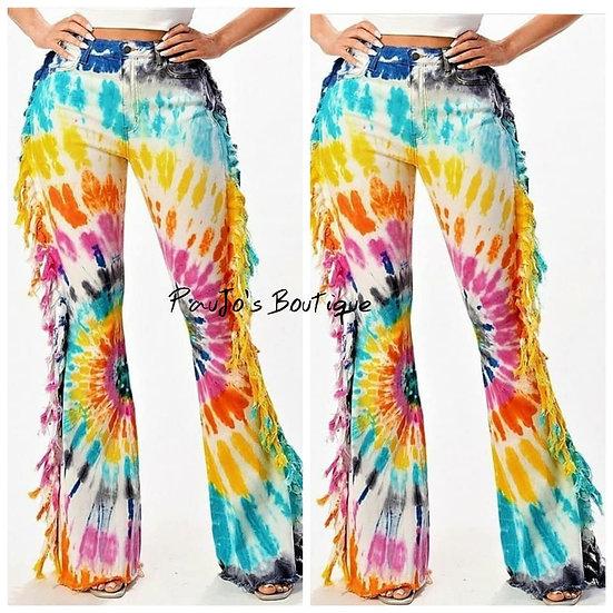 Rainbow Tie Dye Flare Jeans w/ side tassels