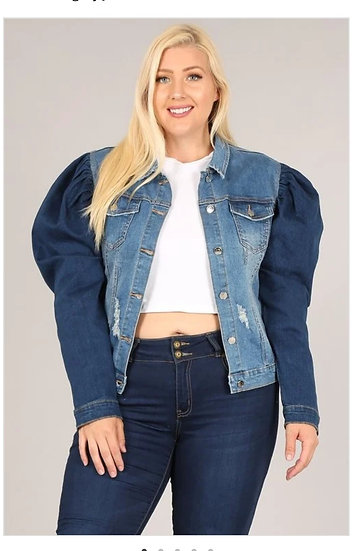Plus Denim Puffy Sleeve Jacket