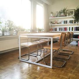 hero design tafel eiken tafelblad stalen