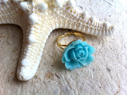 Blue Rose Ring with Starfish