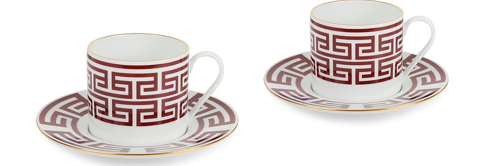 Lucky Rooster Collection Red 2'li Çay Fincan Set