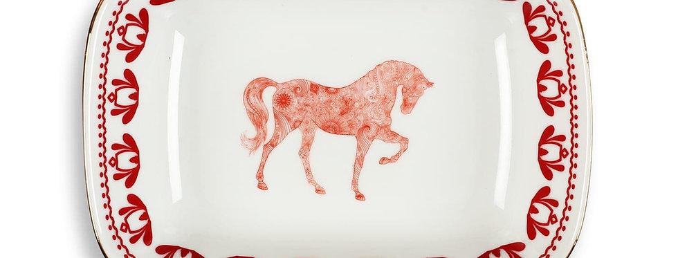 Horse Luck Collection-Red 17cm At Figürlü Bordo Kare Tabak