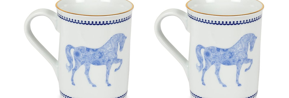 Horse Luck Collection-Blue At Figürlü Lacivert Kupa 2'li Set