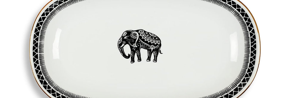 34cm Some Wild Collection Fil Figürlü Kayık Servis Tabak