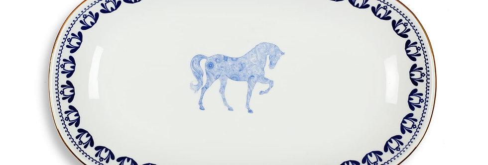 Horse Luck Collection-Blue 34cm At Figürlü Lacivert Kayık Servis Tabak