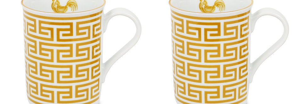 Lucky Rooster Collection Mustard 2'li Kupa Set