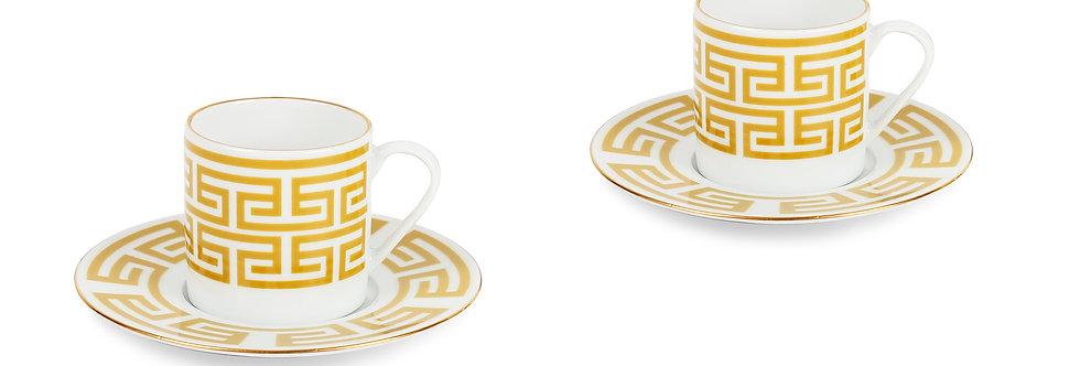 Lucky Rooster Collection Mustard 2'li Türk Kahve Fincan Set