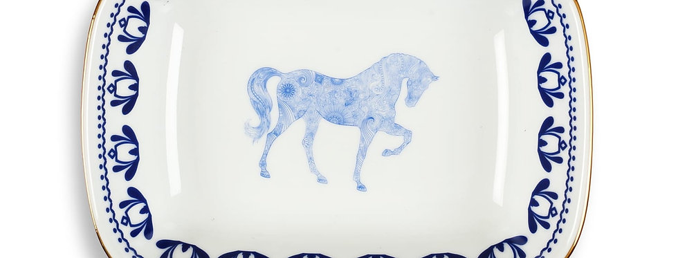 Horse Luck Collection-Blue 17cm At Figürlü Lacivert Kare Tabak