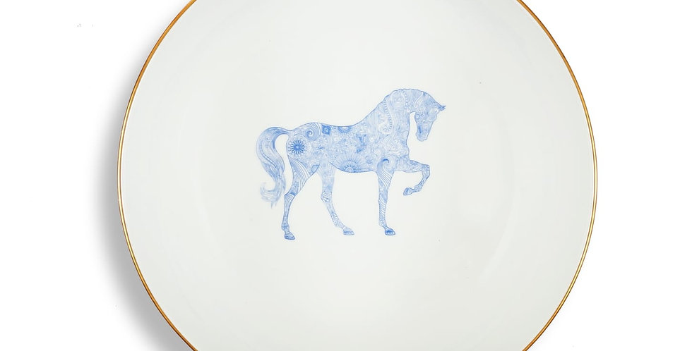 Horse Luck Collection-Blue 20cm At Figürlü Lacivert Orta Boy Kase