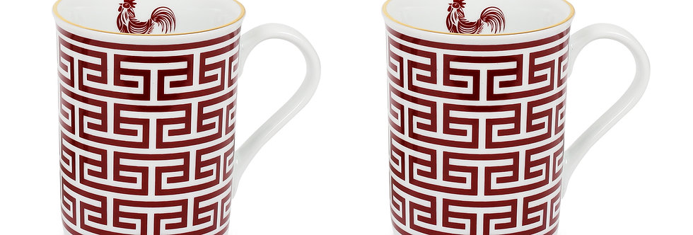 Lucky Rooster Collection Red 2'li Kupa Set