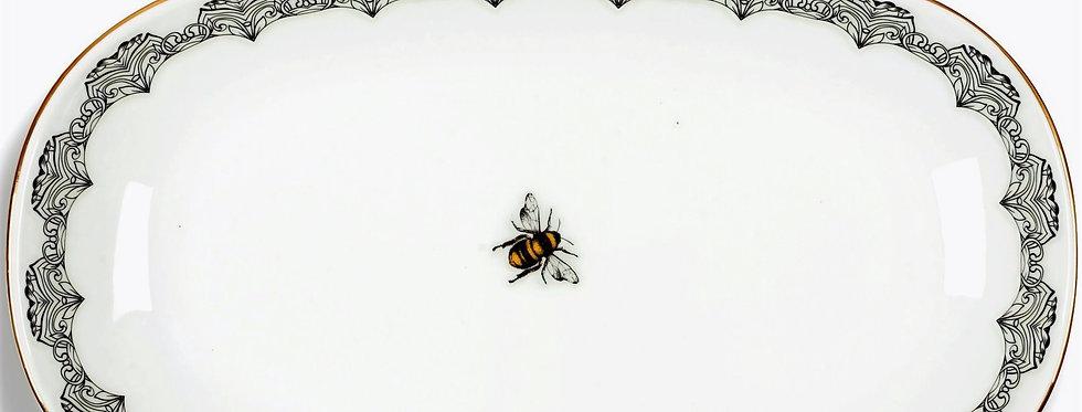 Bee Happy Collection- 34cm Arı Figürlü Kayık Servis Tabak