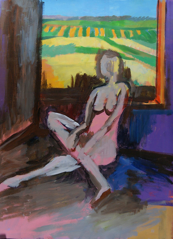 Nude and Farm Landscape acrylic on paper