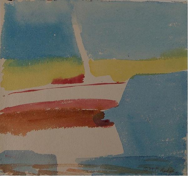 Sailboat Watercolor 9 x 8 C2007 Patty Ro