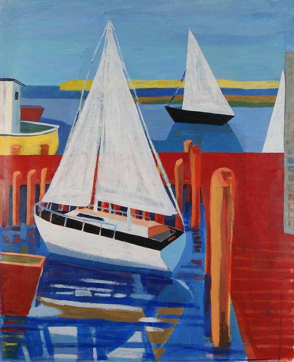 Boats at Wellfleet Harbor Acrylic on pap