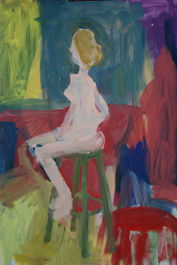 Nude in a Room 12 x 18 acrylic on paper