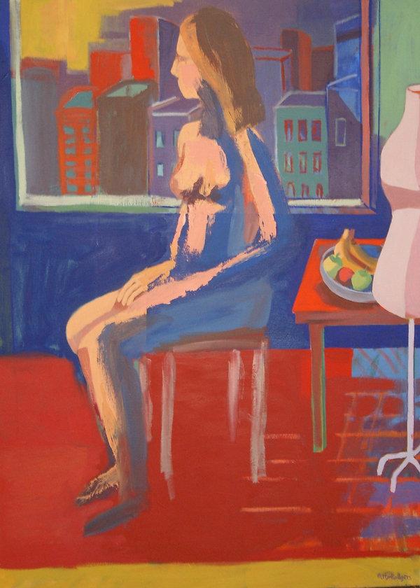 Blue Nude Oil 30 x 40 Copyright 2015 Pat