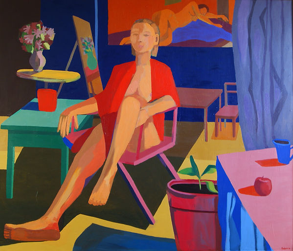 Woman in Directors Chair Oil 52 x 48 C 1
