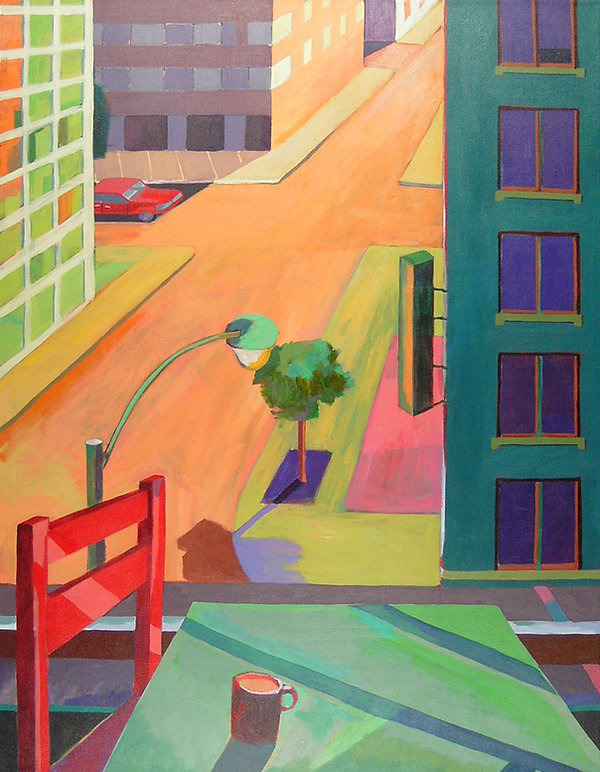 Red Chair and View of the Street Acrylic