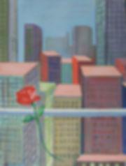 Rose on a City Oil 18 x 24 C 2019 Patty