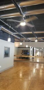Cork floors and full mirror wall!