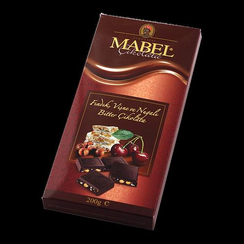Mabel Fındık, Vişne, Nuga dolgulu Bitter Çikolata 200 gr 1 adet