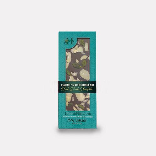 Hinitan Almond, Pistachio and Tonka Nut  – 75% Rich Dark Chocolate
