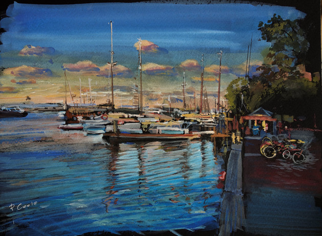 Evening at the Seaport  gouache  11x14.j
