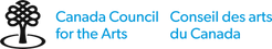 Black and blue logo that reads Canada Council for the Arts Conseil des arts du Canada