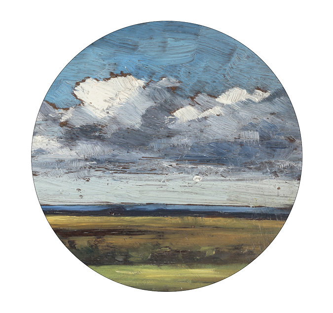 A round cropped detail of a landscape painting showing land, sea and sky. The texture of brush marks is clearly visible.